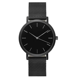 Women Crystal Stainless Steel Analog Quartz Wrist Watch Black