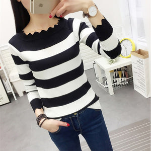 Striped Crochet Fashion Sweaters Black / L
