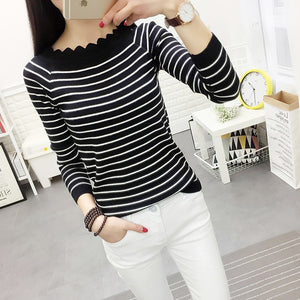 Striped Crochet Fashion Sweaters Black Striped / One Size