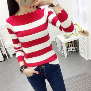 Striped Crochet Fashion Sweaters Red / L