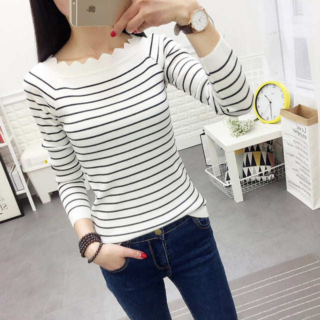 Striped Crochet Fashion Sweaters White Striped / One Size