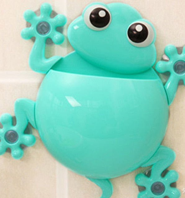 Cartoon Gecko Wall Suction Toothbrush Holder blue