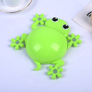 Cartoon Gecko Wall Suction Toothbrush Holder green