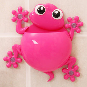 Cartoon Gecko Wall Suction Toothbrush Holder rose red
