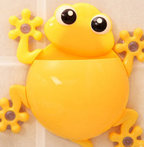 Cartoon Gecko Wall Suction Toothbrush Holder yellow