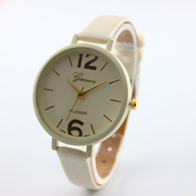 Colorful Ladies Wrist Watch Cream