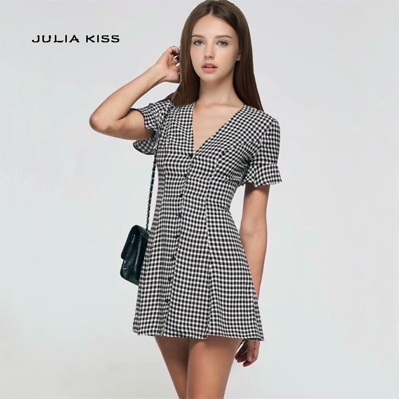 Short Sleeves Gingham Mini Dresses