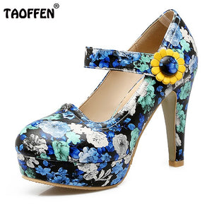 Flowers High Heel Shoes