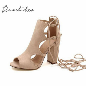 Gladiator Peep Toe High Heels Shoes Beige / 8