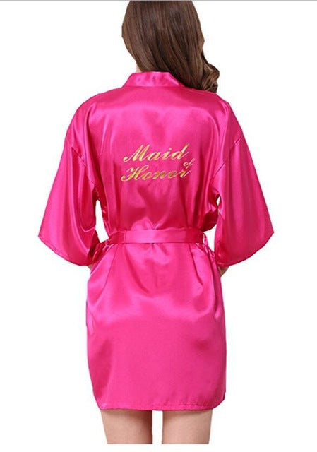 Bridesmaid robes Sleepwear Wedding Nightdress Nightgown As the photo show 2 / S