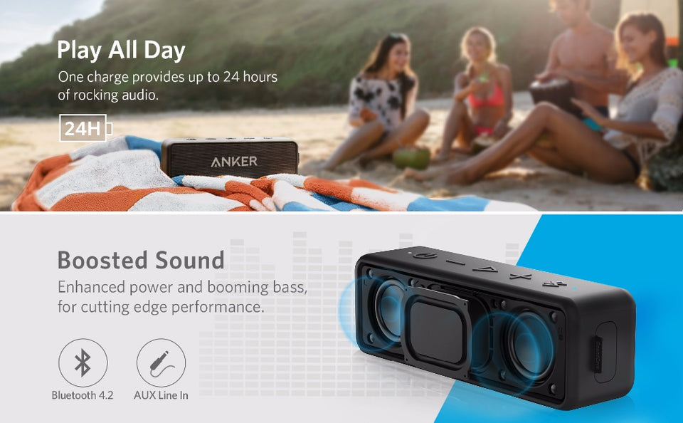 WATER RESISTANT PORTABLE BLUETOOTH WIRELESS SPEAKER BETTER BASS 24-HOUR PLAYTIME