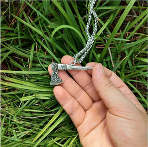 1pcs Viking Necklace Nordic Axe Metal Chain