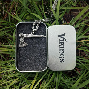 1pcs Viking Necklace Nordic Axe Metal Chain with Box