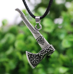 1pcs Viking Necklace Nordic Axe Anti Stelling Silver
