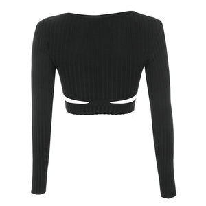 Long Sleeve Sexy Bandage Cut Out Cropped Top