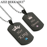 Black Stainless Steel Couple Necklaces Her King & His Queen