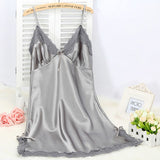 Sexy Silk Satin Night Dress Grey / M