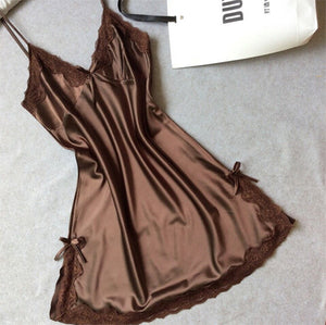 Sexy Silk Satin Night Dress coffee / M