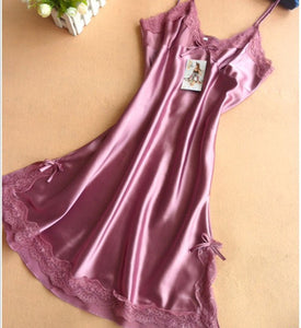 Sexy Silk Satin Night Dress light purple / M