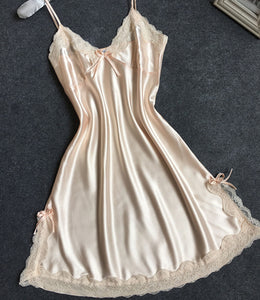 Sexy Silk Satin Night Dress champagne / M