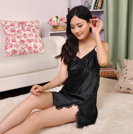 Sexy Silk Satin Night Dress black 2 / M