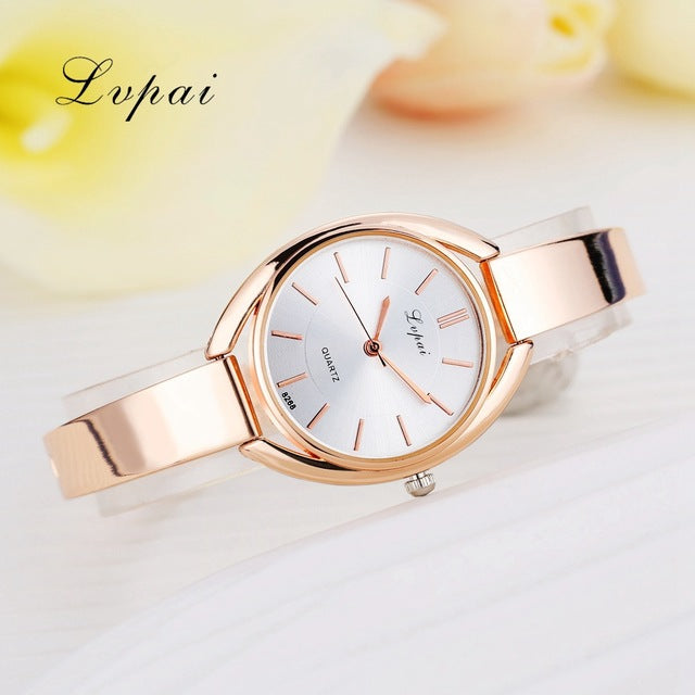 Luxury Women Bracelet Watches Rose Gold White 1