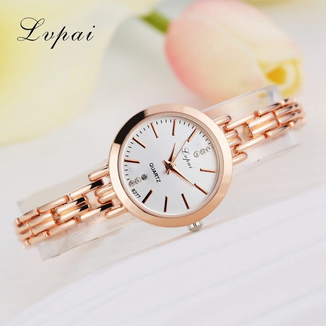 Luxury Women Bracelet Watches Rose Gold White