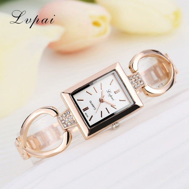 Luxury Women Bracelet Watches Rose Gold White 2
