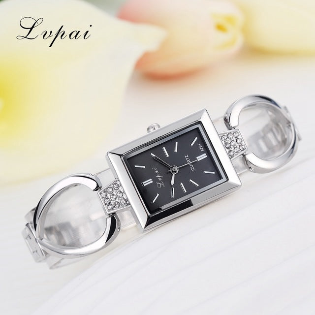 Luxury Women Bracelet Watches Silver Black 2