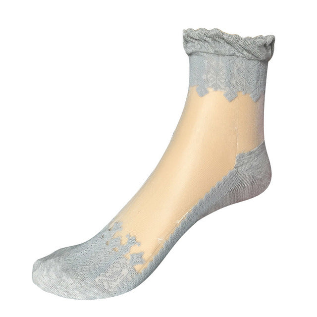 Lace Ruffle Ankle Socks Gray