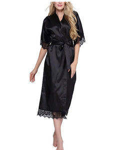 Women Silk Robe Sexy Long Lingerie Sleepwear Nightgown sleepwear Foxy Beauty
