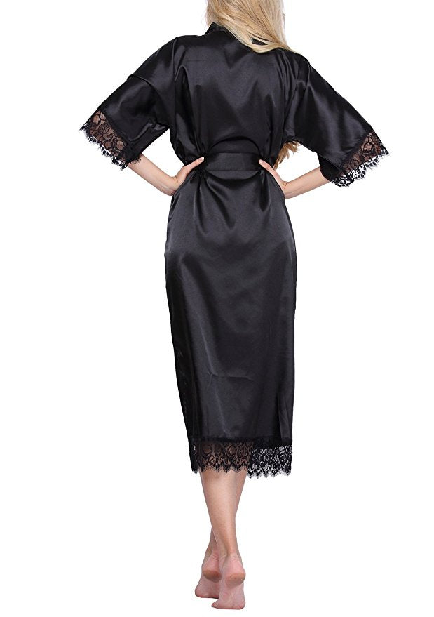 Women Silk Robe Sexy Long Lingerie Sleepwear Nightgown