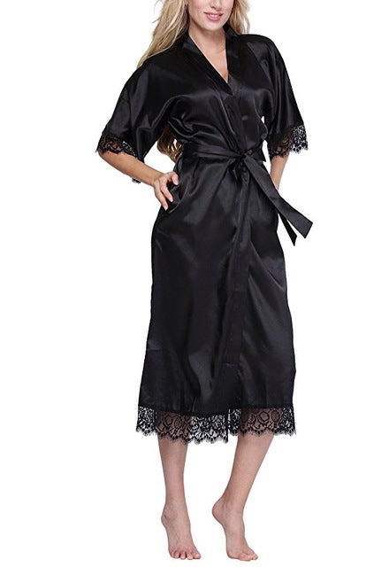 Women Silk Robe Sexy Long Lingerie Sleepwear Nightgown As the photo show 4 / S