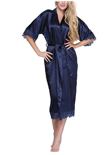 Women Silk Robe Sexy Long Lingerie Sleepwear Nightgown As the photo show 2 / S