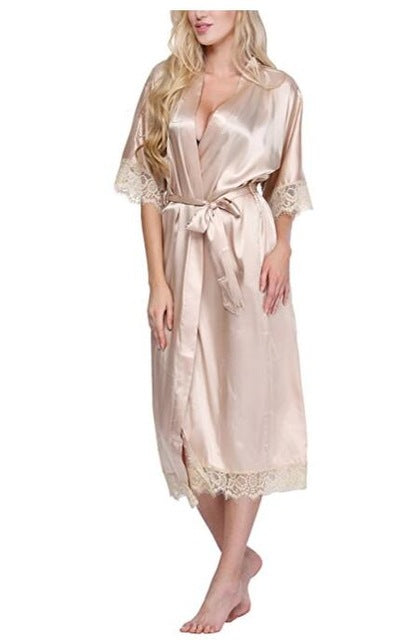 Women Silk Robe Sexy Long Lingerie Sleepwear Nightgown As the photo show 7 / S
