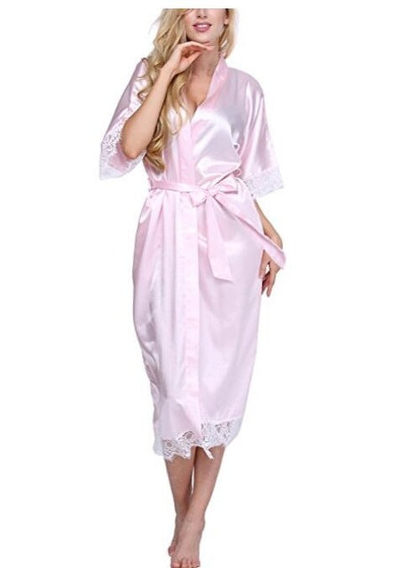 Women Silk Robe Sexy Long Lingerie Sleepwear Nightgown As the photo show 1 / S