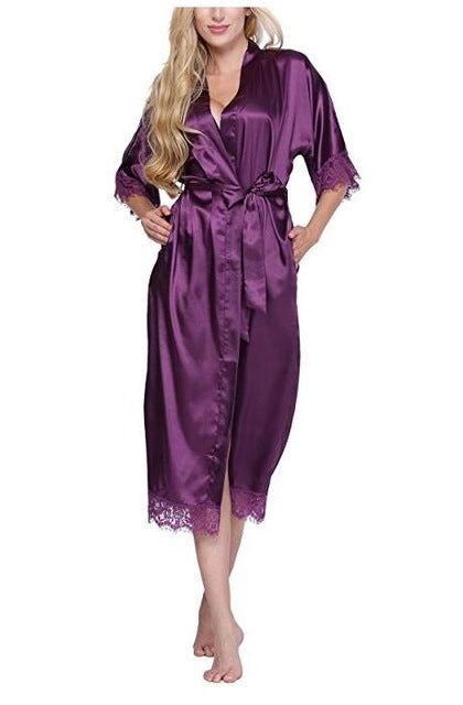 Women Silk Robe Sexy Long Lingerie Sleepwear Nightgown As the photo show 9 / S