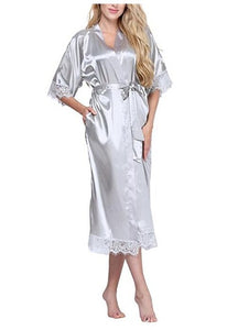 Women Silk Robe Sexy Long Lingerie Sleepwear Nightgown As the photo show 8 / S