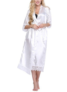 Women Silk Robe Sexy Long Lingerie Sleepwear Nightgown As the photo show 6 / S