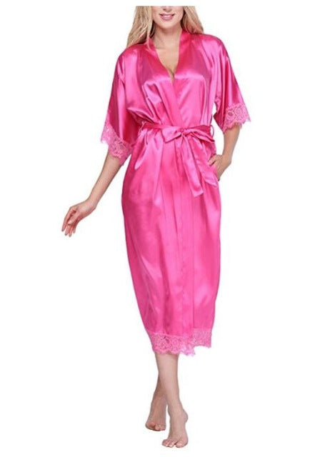 Women Silk Robe Sexy Long Lingerie Sleepwear Nightgown As the photo show 5 / S
