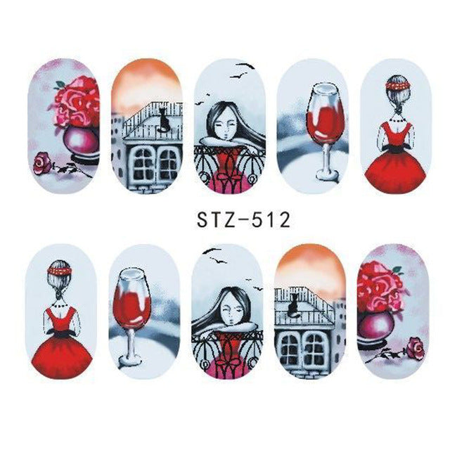 Beautiful Sticker Water Transfer Decals Nail Art STZ512