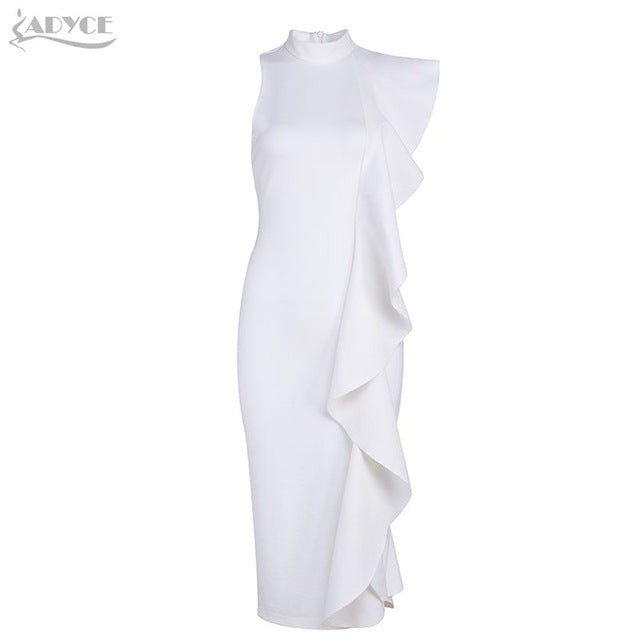 Sexy Ruffles Bodycon Dress White / L