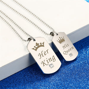 Couple Necklaces Her King & His Queen with Crown