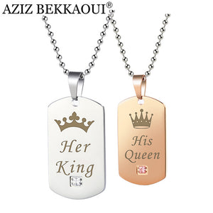 Couple Necklaces Her King & His Queen with Crown silver and rose glod