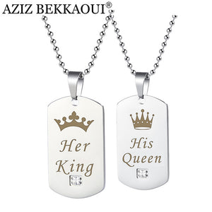 Couple Necklaces Her King & His Queen with Crown double silver