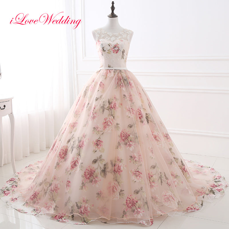 Elegant Floral Printed Ball Gown