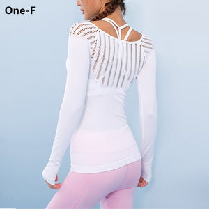 Long sleeve hollow out yoga training top WHITE / L/XL