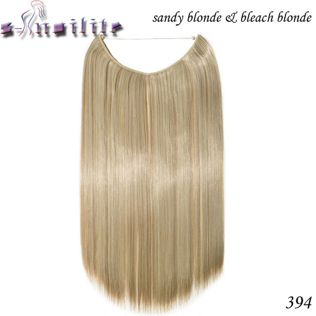 20 inches Invisible Wire No Clips Fish Line Hairpieces Silky Straight P4/613 / 20inches