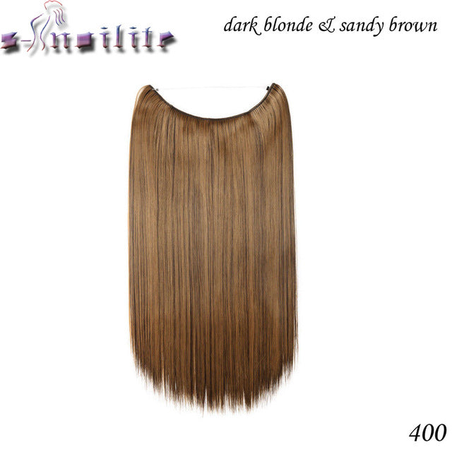 20 inches Invisible Wire No Clips Fish Line Hairpieces Silky Straight P16/613 / 20inches