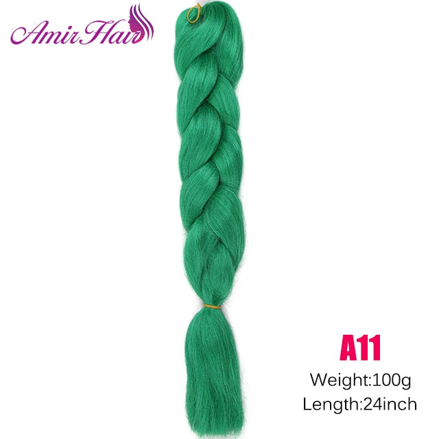 Ombre Jumbo Braid Extensions Green / 24inches